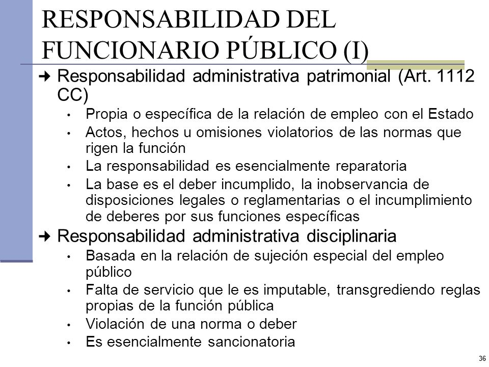 RESPONSABILIDAD DEL FUNCIONARIO PÚBLICO (I)