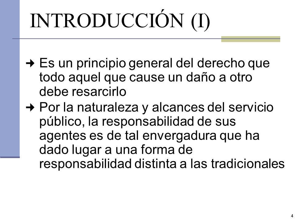 INTRODUCCIÓN (I) Es un principio general del derecho que todo aquel que cause un daño a otro debe resarcirlo.