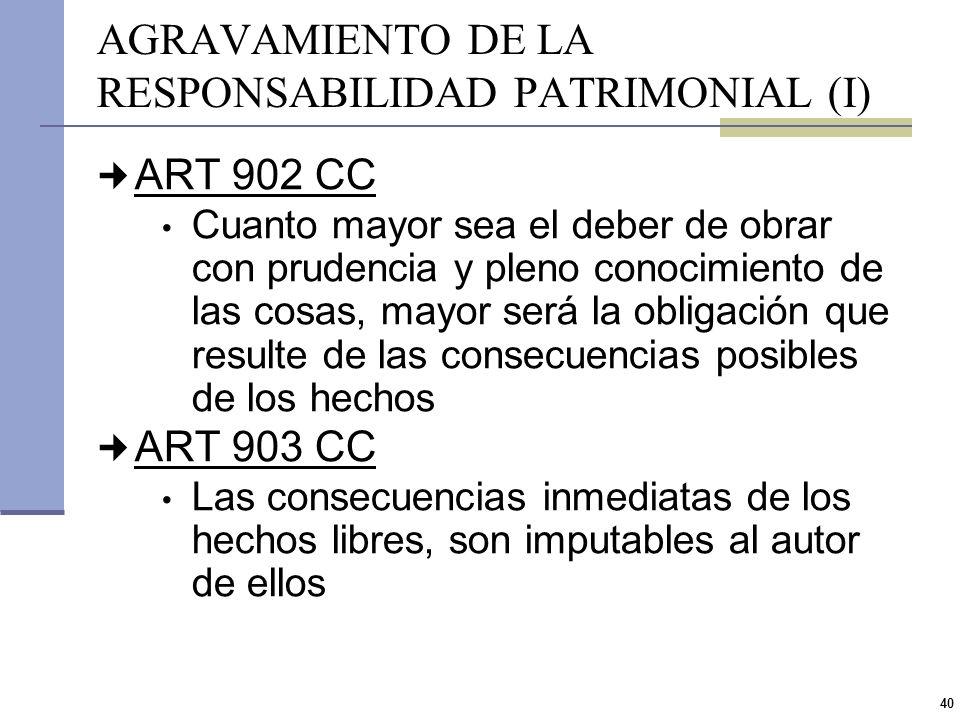 AGRAVAMIENTO DE LA RESPONSABILIDAD PATRIMONIAL (I)