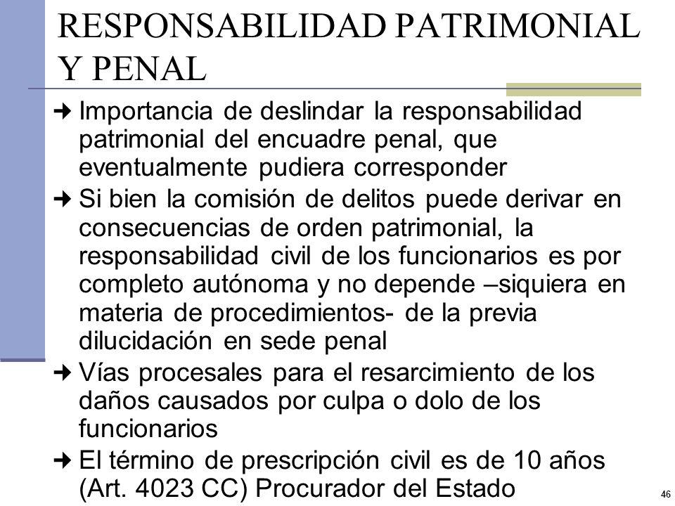 RESPONSABILIDAD PATRIMONIAL Y PENAL