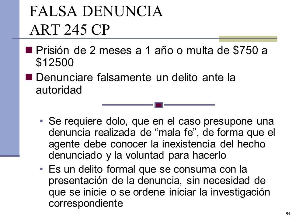 FALSA DENUNCIA ART 245 CP Prisión de 2 meses a 1 año o multa de $750 a $12500. Denunciare falsamente un delito ante la autoridad.