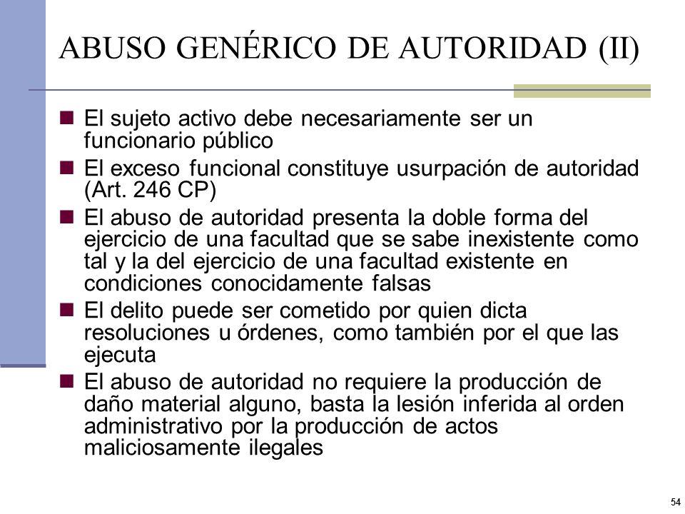 ABUSO GENÉRICO DE AUTORIDAD (II)