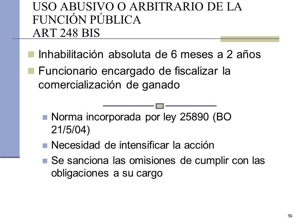 USO ABUSIVO O ARBITRARIO DE LA FUNCIÓN PÚBLICA ART 248 BIS