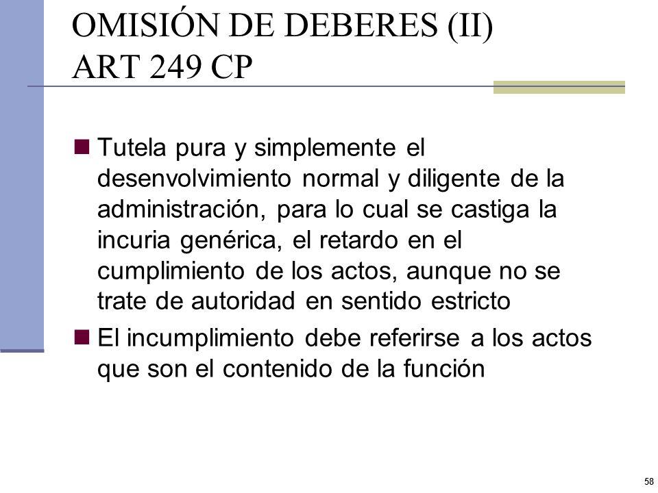 OMISIÓN DE DEBERES (II) ART 249 CP