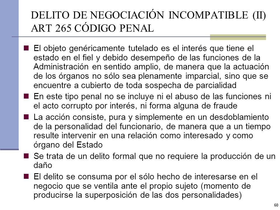 DELITO DE NEGOCIACIÓN INCOMPATIBLE (II) ART 265 CÓDIGO PENAL