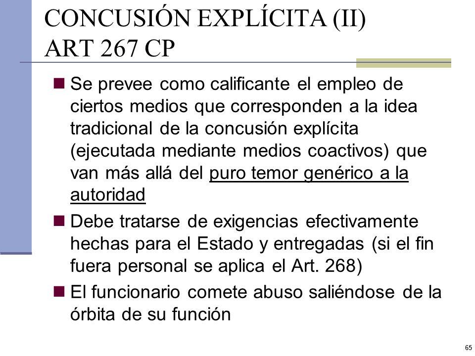 CONCUSIÓN EXPLÍCITA (II) ART 267 CP