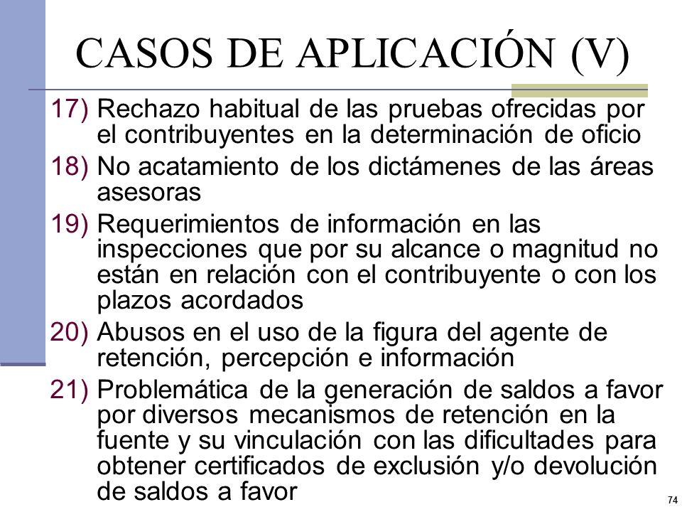 CASOS DE APLICACIÓN (V)