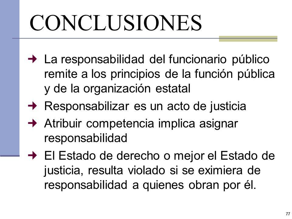 CONCLUSIONES La responsabilidad del funcionario público remite a los principios de la función pública y de la organización estatal.
