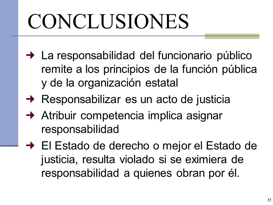 CONCLUSIONESLa responsabilidad del funcionario público remite a los principios de la función pública y de la organización estatal.