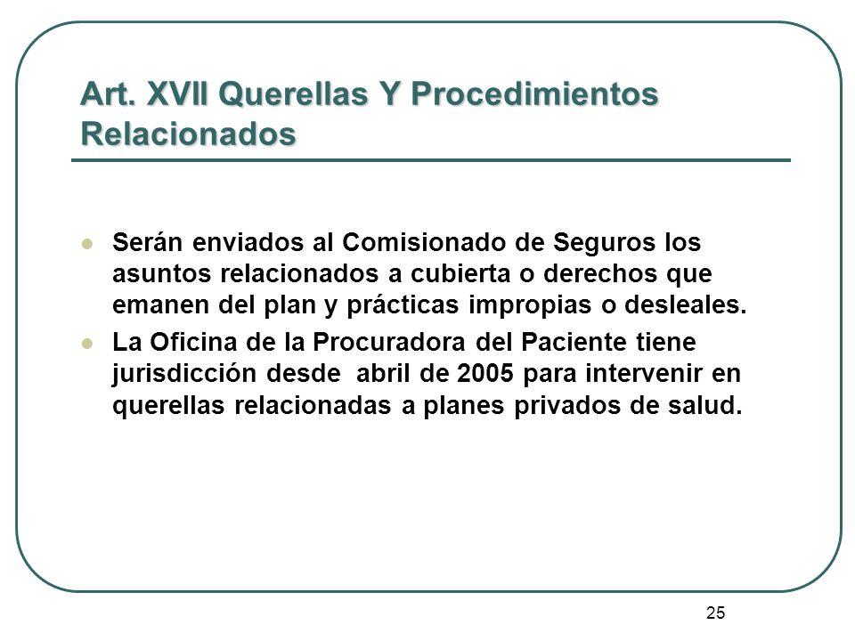 Art. XVII Querellas Y Procedimientos Relacionados