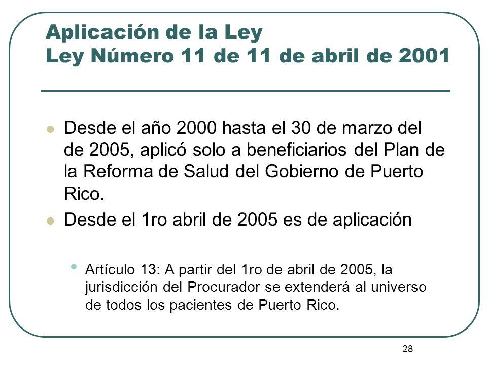 Aplicación de la Ley Ley Número 11 de 11 de abril de 2001