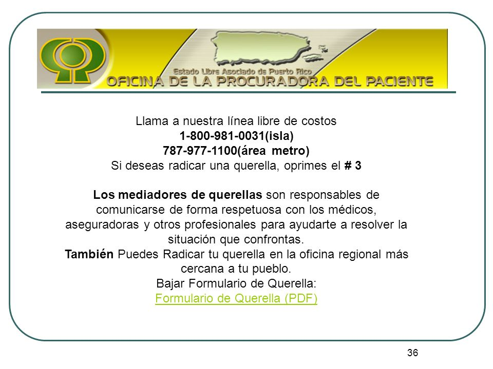 Carta de derechos y responsabilidades del paciente ley n m for Oficina mapfre mas cercana
