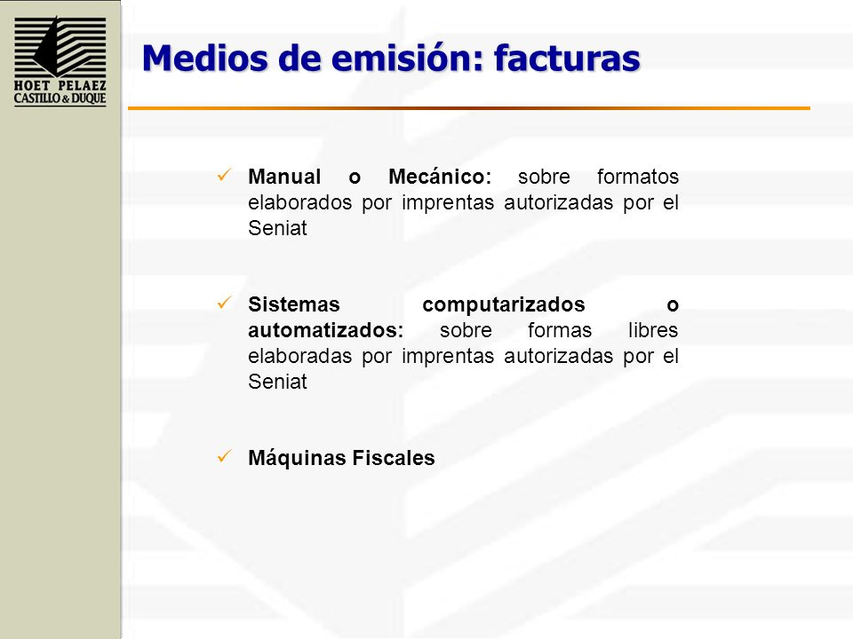 Medios de emisión: facturas
