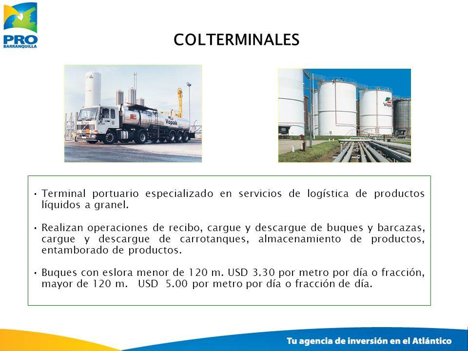 COLTERMINALES Terminal portuario especializado en servicios de logística de productos líquidos a granel.