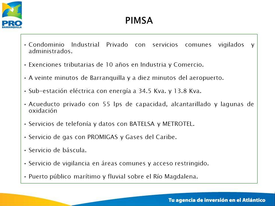 PIMSA Condominio Industrial Privado con servicios comunes vigilados y administrados. Exenciones tributarias de 10 años en Industria y Comercio.