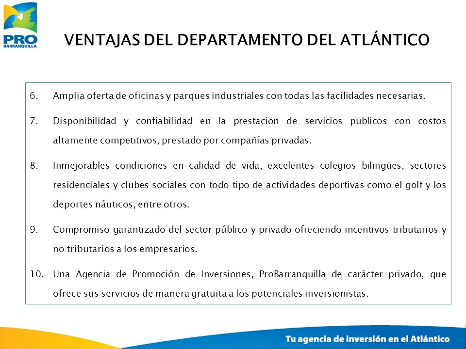 VENTAJAS DEL DEPARTAMENTO DEL ATLÁNTICO