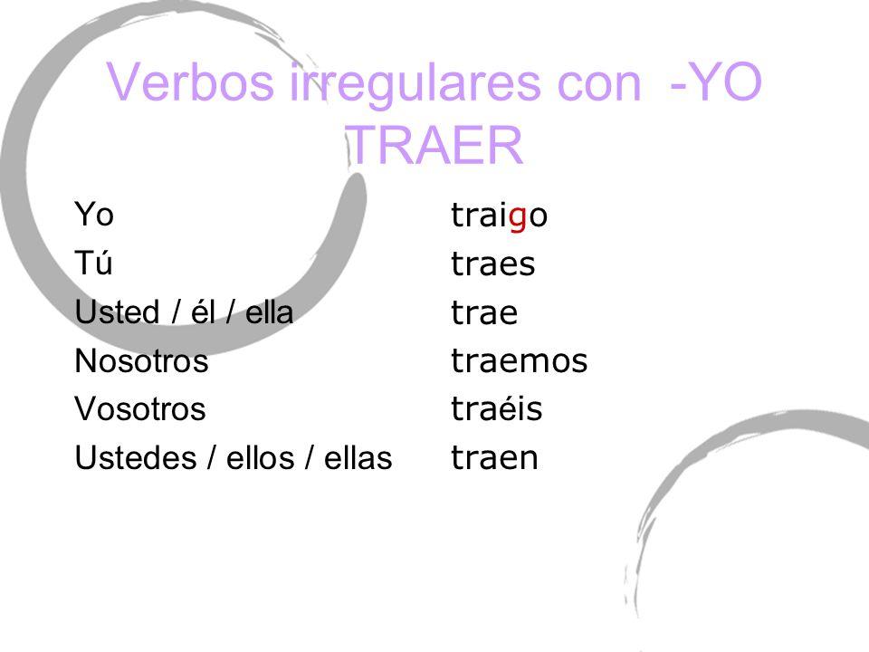 Verbos irregulares con -YO TRAER