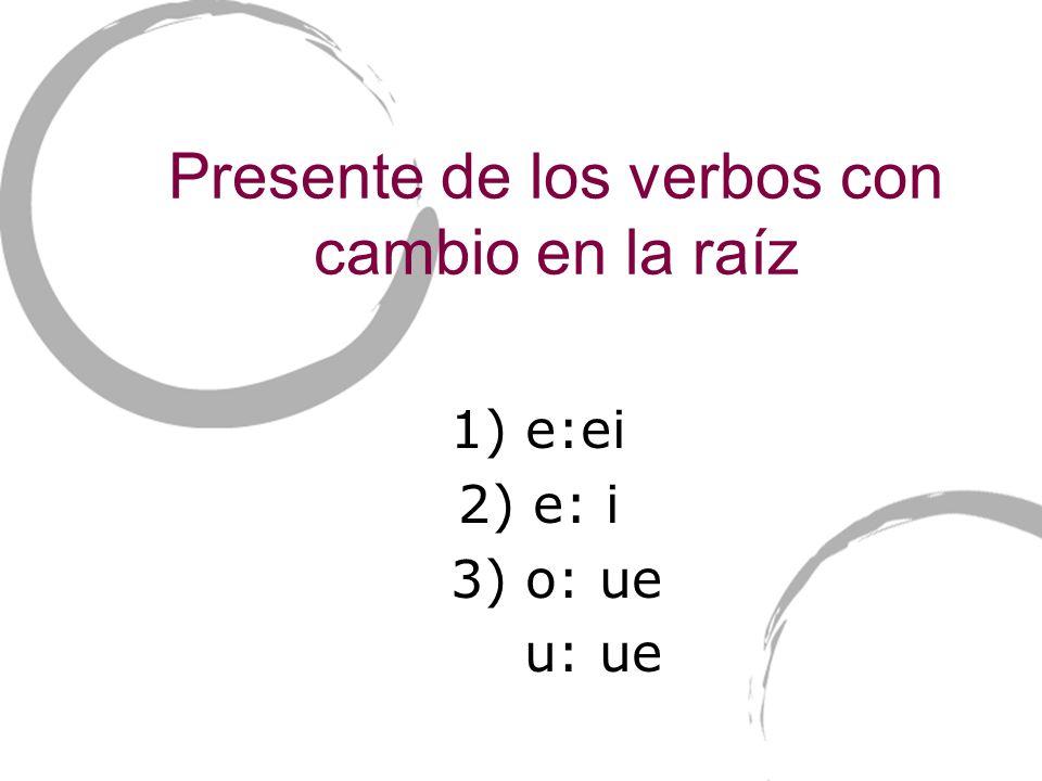 Presente de los verbos con cambio en la raíz