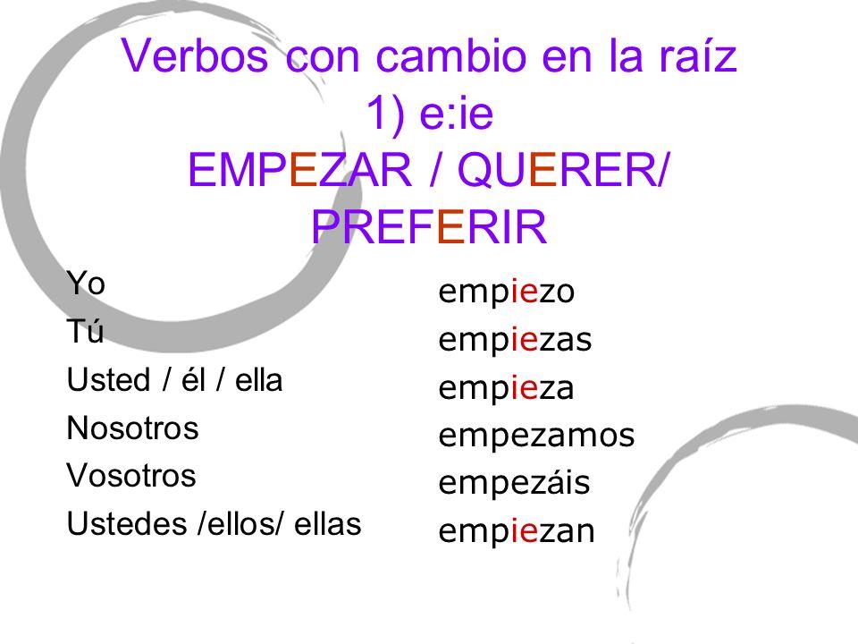 Verbos con cambio en la raíz 1) e:ie EMPEZAR / QUERER/ PREFERIR