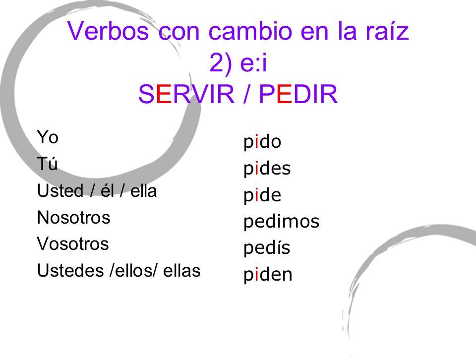 Verbos con cambio en la raíz 2) e:i SERVIR / PEDIR