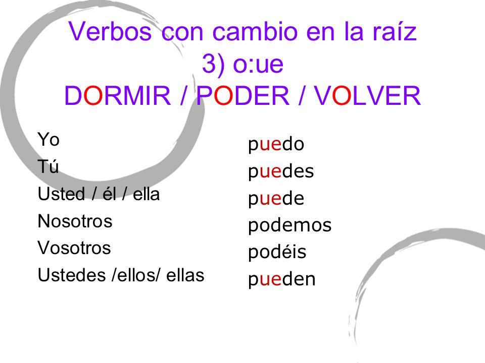 Verbos con cambio en la raíz 3) o:ue DORMIR / PODER / VOLVER