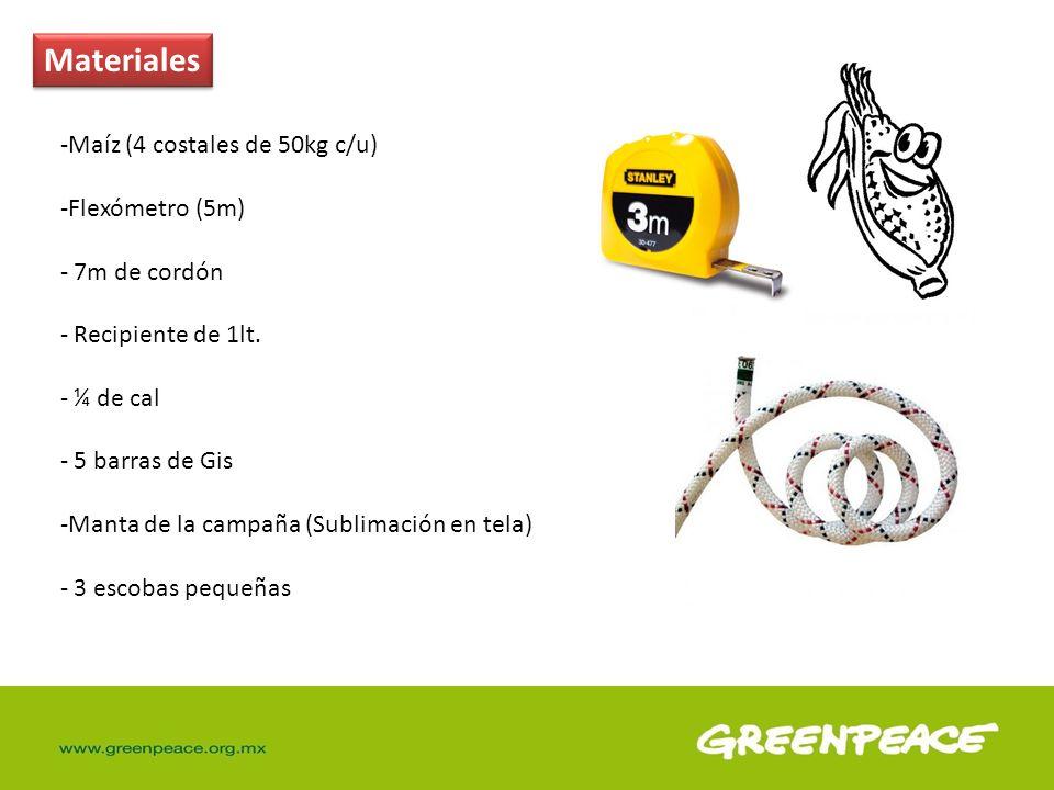 Materiales Maíz (4 costales de 50kg c/u) Flexómetro (5m) 7m de cordón