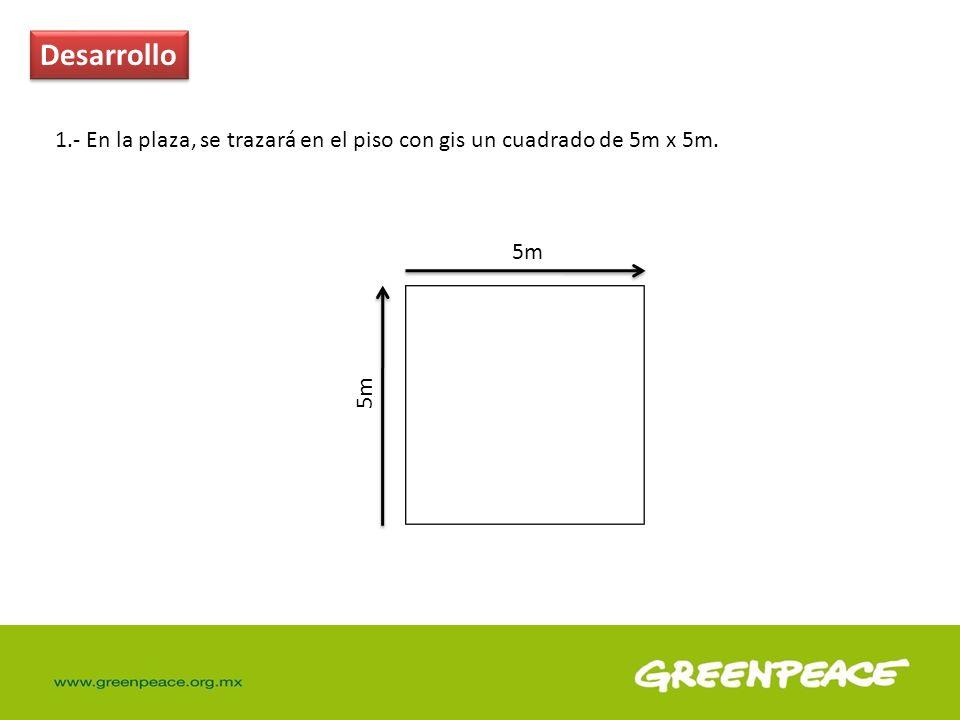 Desarrollo 1.- En la plaza, se trazará en el piso con gis un cuadrado de 5m x 5m. 5m 5m
