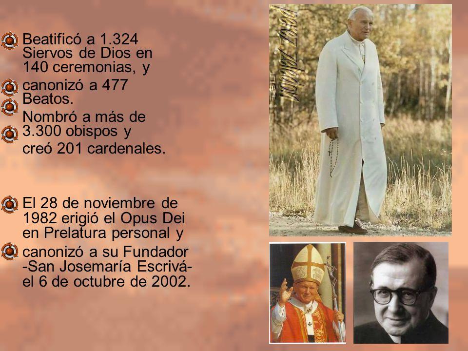 Beatificó a 1.324 Siervos de Dios en 140 ceremonias, y