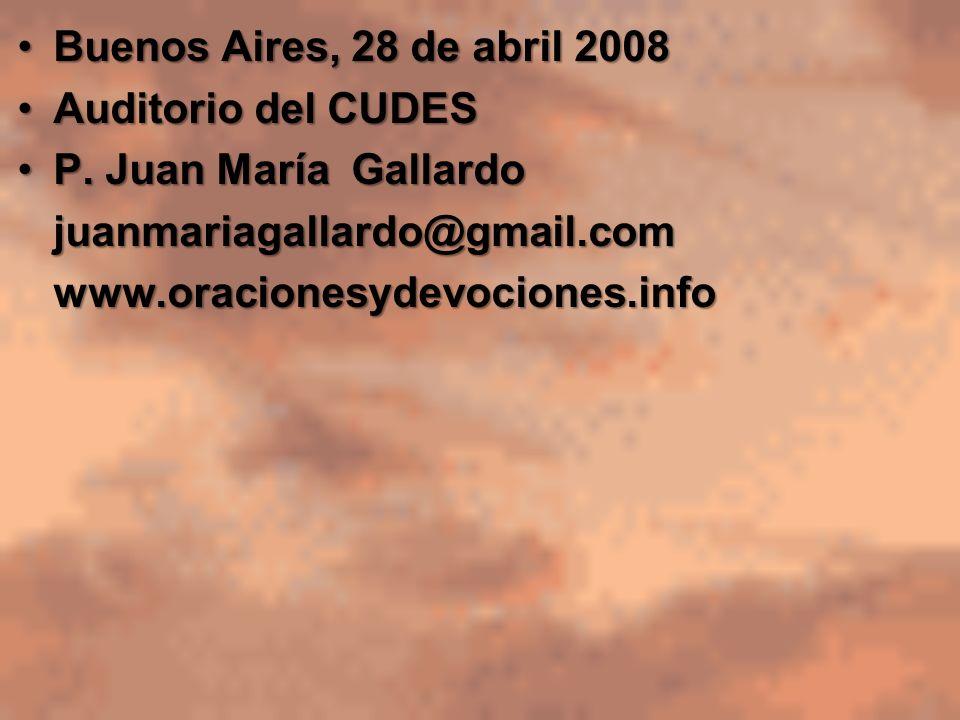 Buenos Aires, 28 de abril 2008 Auditorio del CUDES. P. Juan María Gallardo. juanmariagallardo@gmail.com.