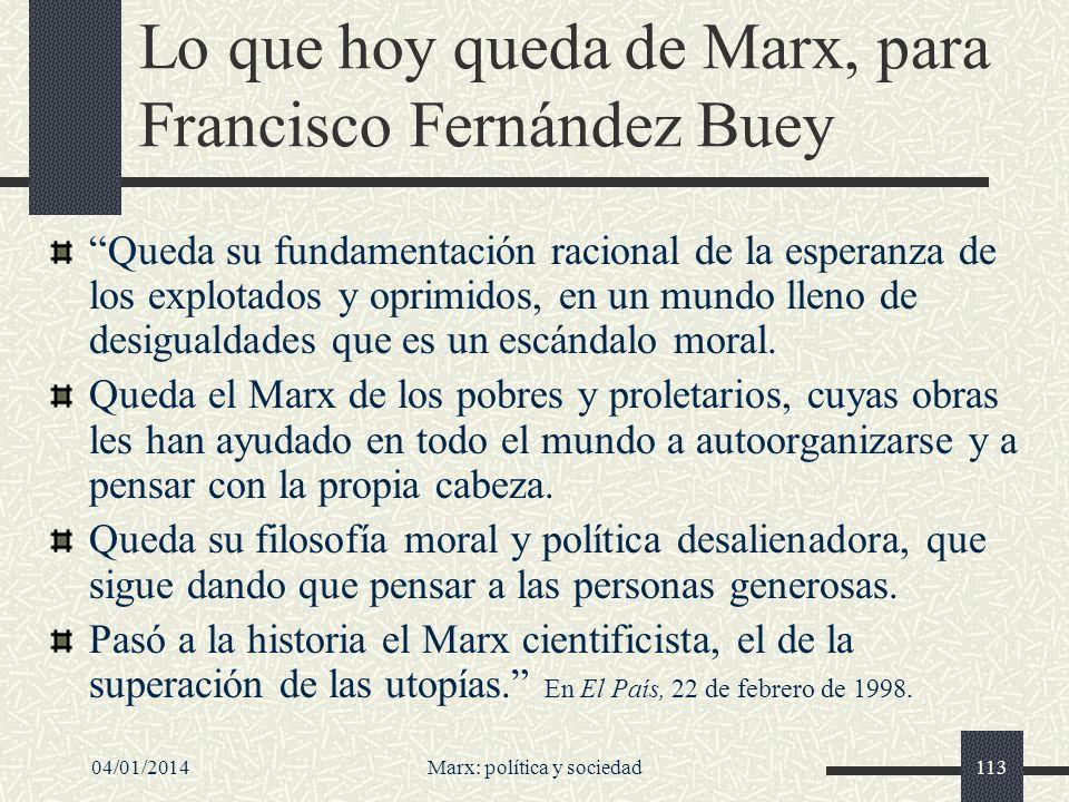 Lo que hoy queda de Marx, para Francisco Fernández Buey