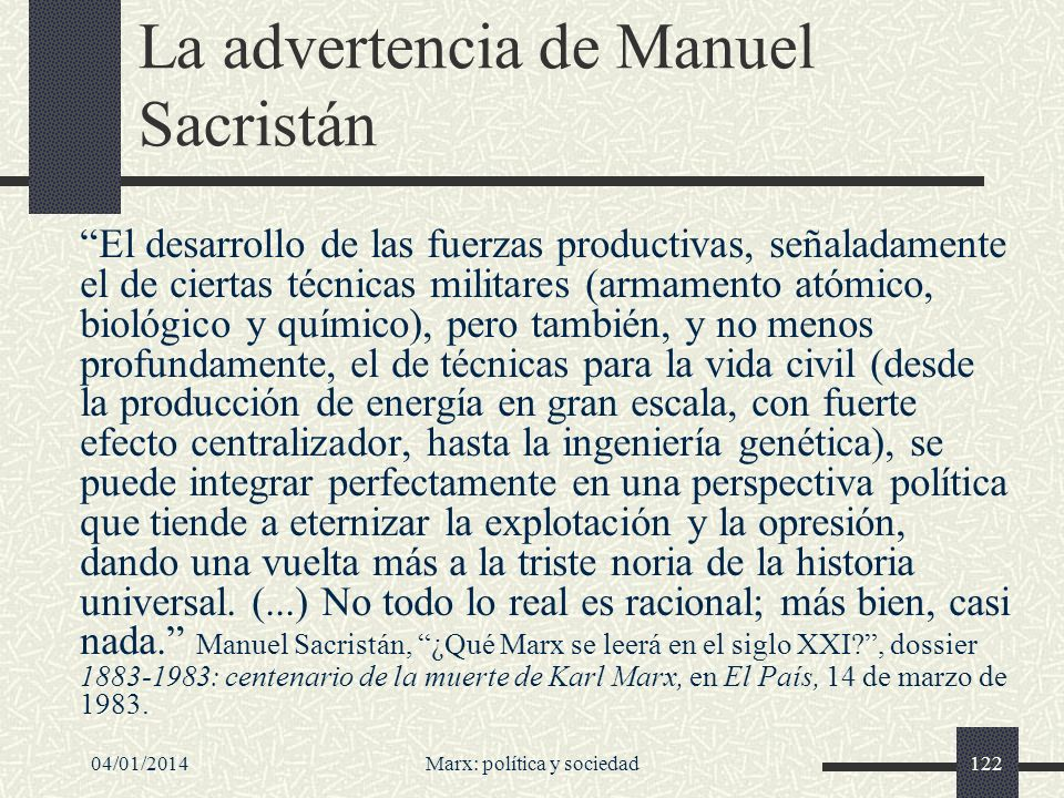 La advertencia de Manuel Sacristán