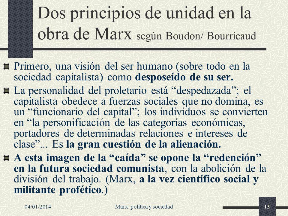Dos principios de unidad en la obra de Marx según Boudon/ Bourricaud