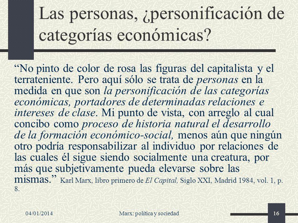 Las personas, ¿personificación de categorías económicas