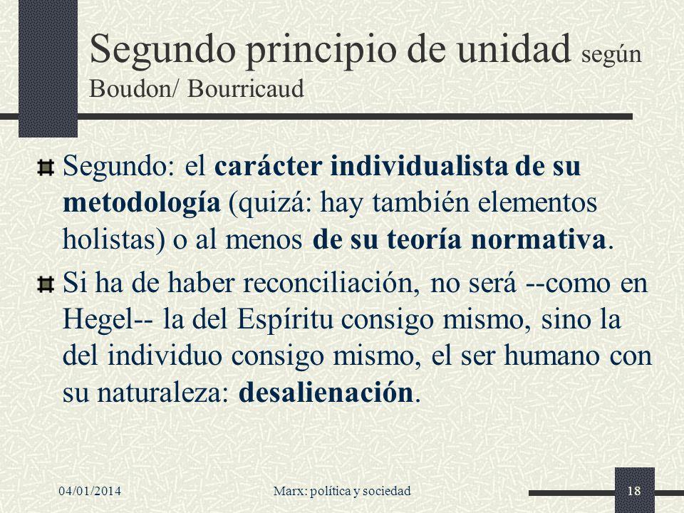 Segundo principio de unidad según Boudon/ Bourricaud
