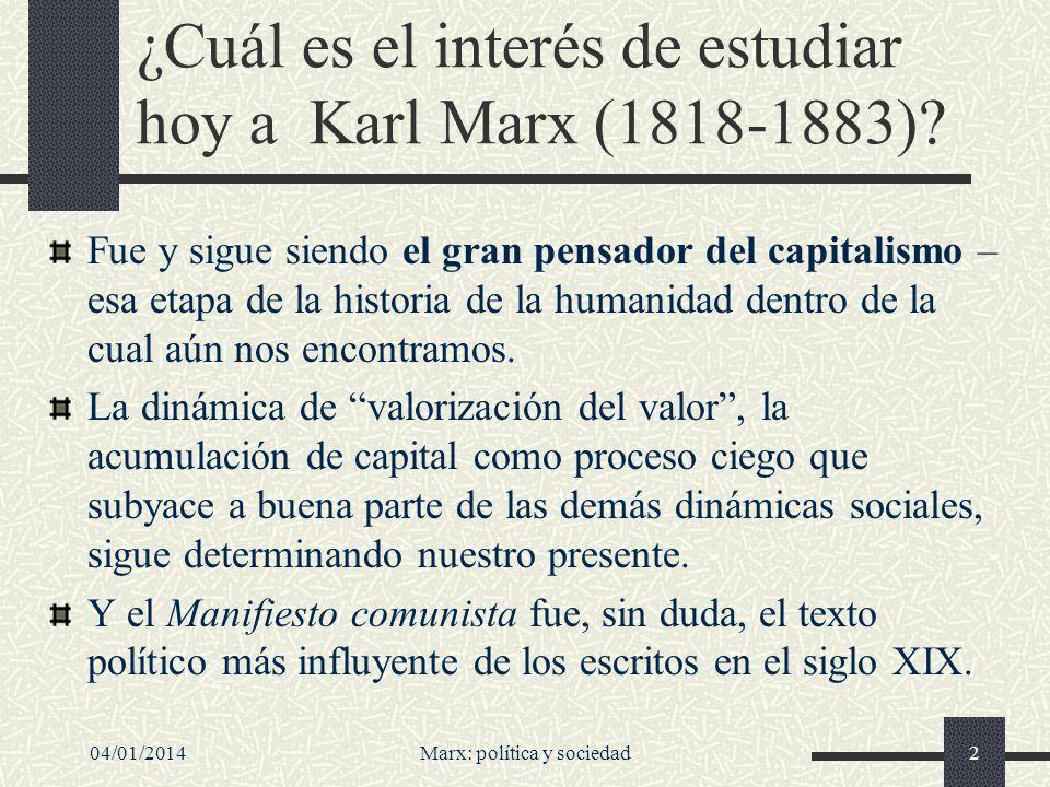 ¿Cuál es el interés de estudiar hoy a Karl Marx (1818-1883)