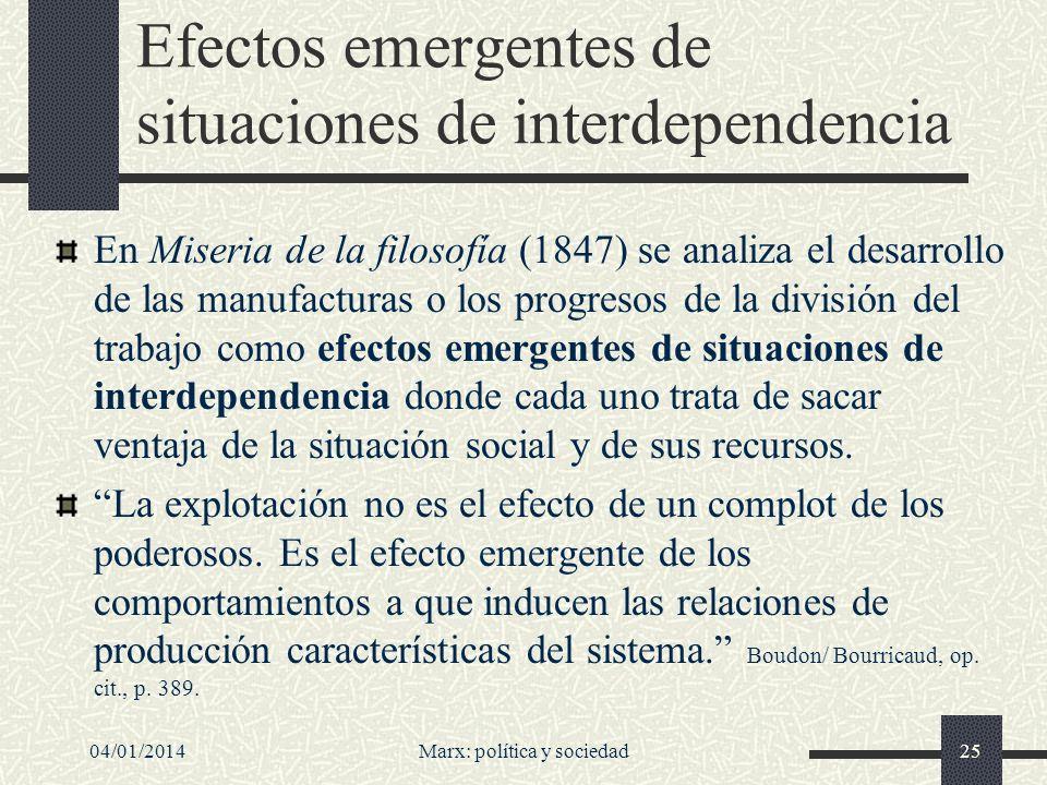 Efectos emergentes de situaciones de interdependencia