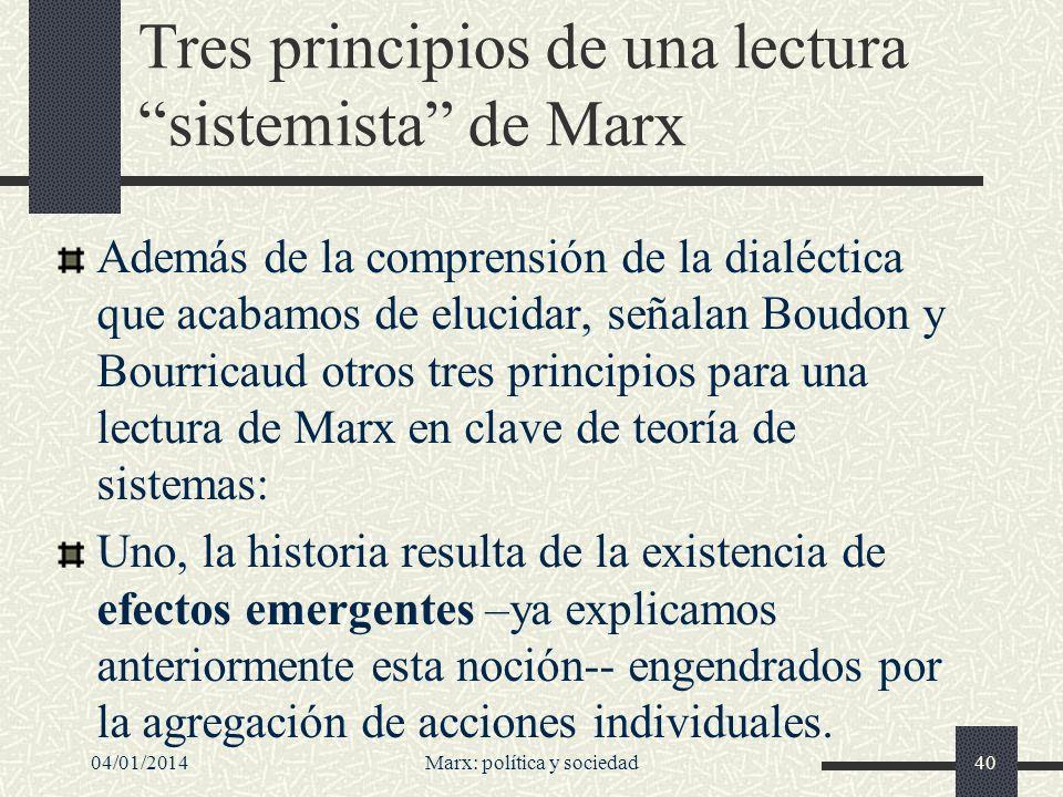 Tres principios de una lectura sistemista de Marx