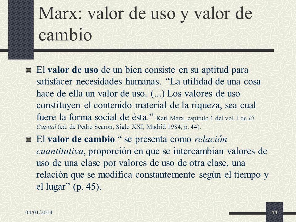 Marx: valor de uso y valor de cambio