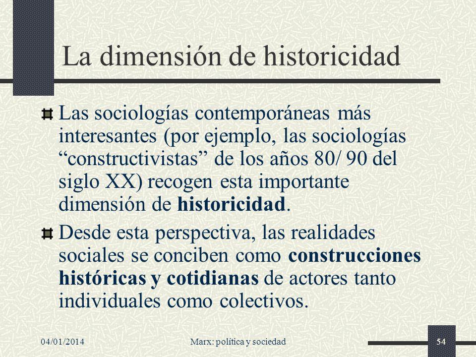 La dimensión de historicidad