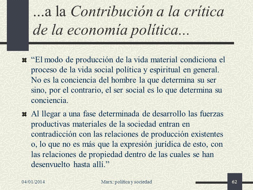 ...a la Contribución a la crítica de la economía política...