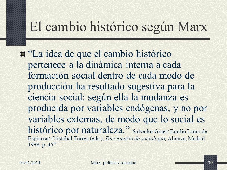 El cambio histórico según Marx