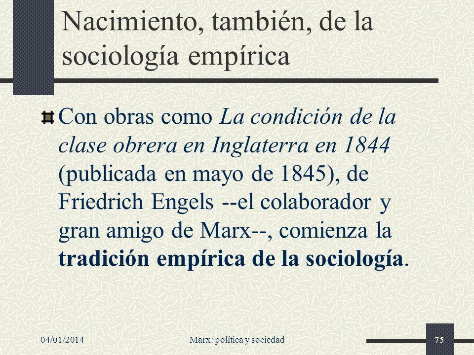 Nacimiento, también, de la sociología empírica