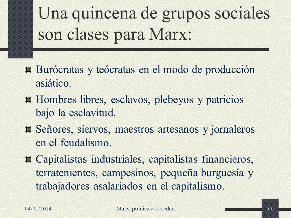 Una quincena de grupos sociales son clases para Marx: