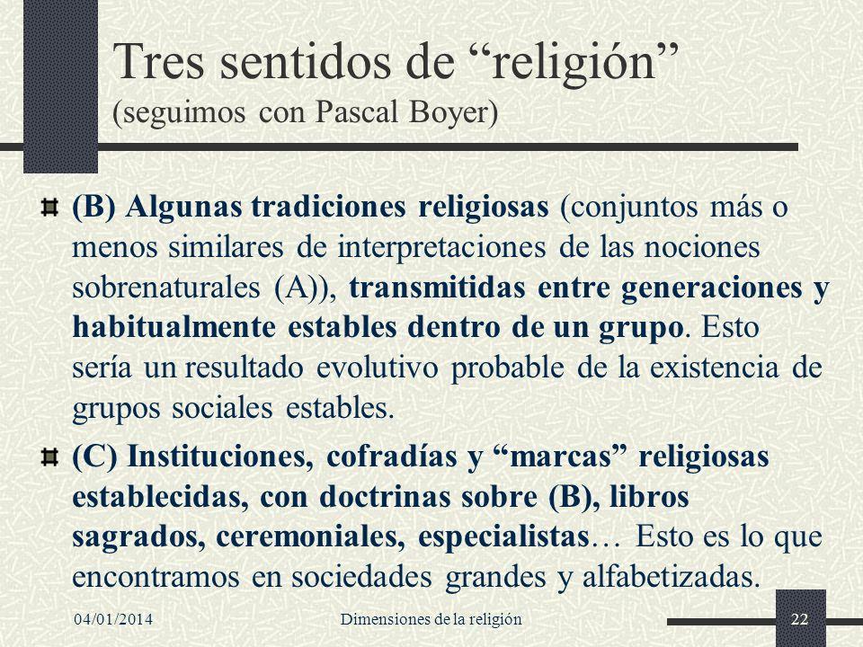 Tres sentidos de religión (seguimos con Pascal Boyer)