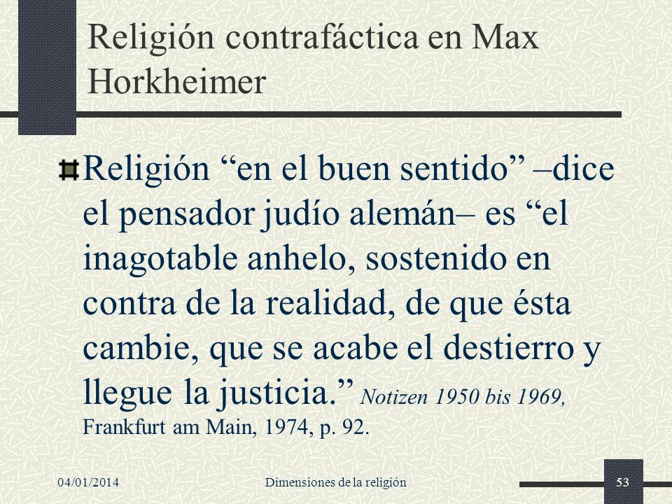 Religión contrafáctica en Max Horkheimer