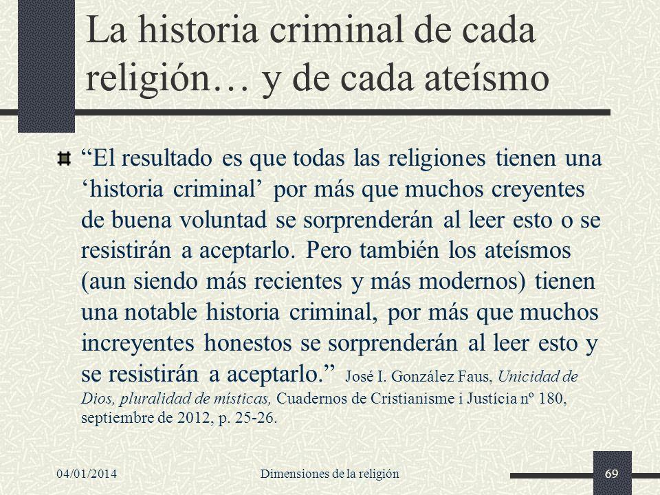 La historia criminal de cada religión… y de cada ateísmo