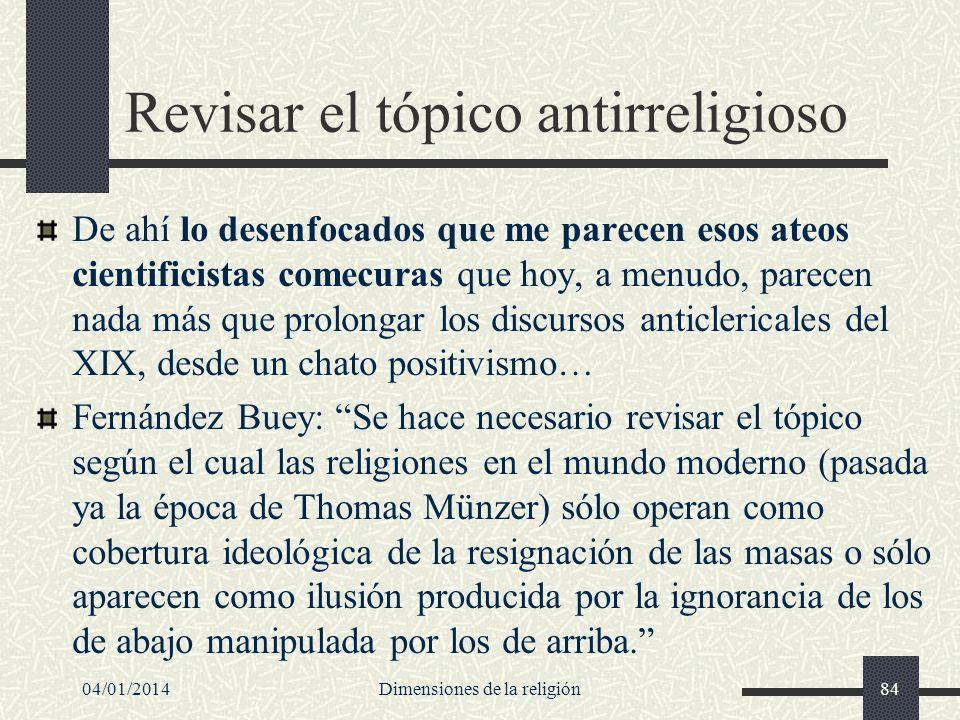 Revisar el tópico antirreligioso