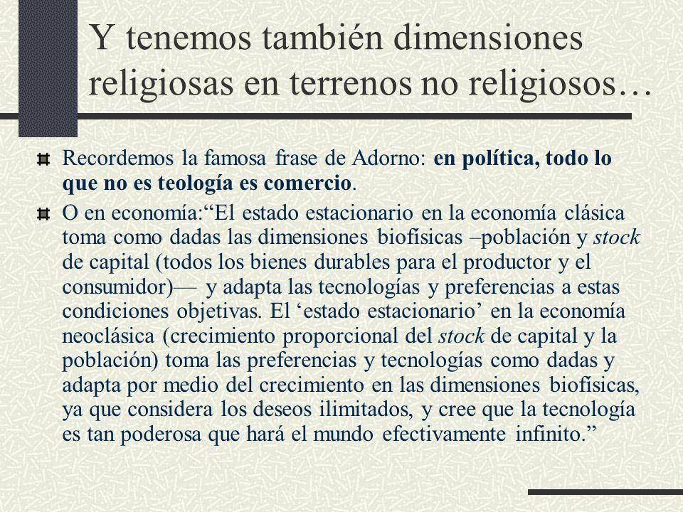 Y tenemos también dimensiones religiosas en terrenos no religiosos…