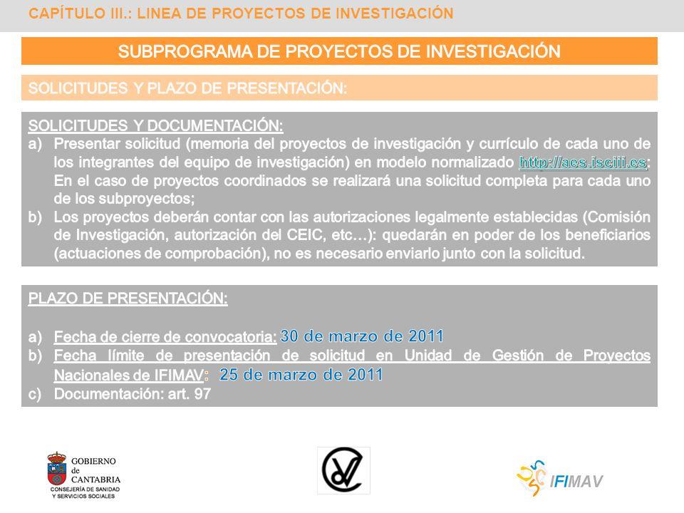 SUBPROGRAMA DE PROYECTOS DE INVESTIGACIÓN