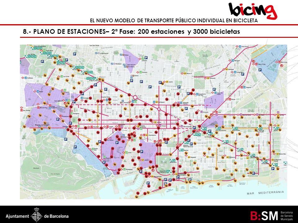 8.- PLANO DE ESTACIONES– 2ª Fase: 200 estaciones y 3000 bicicletas